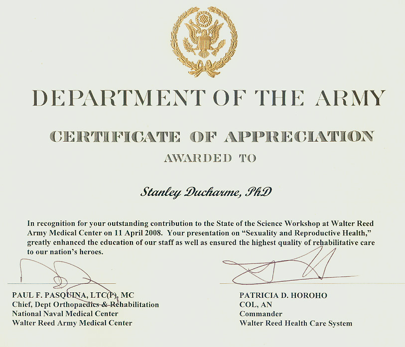 Sex Therapy Rehabilitation Disability and General Clinical – Army Certificate of Appreciation